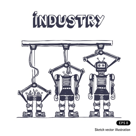 production line:   Factory is making robots  Hand drawn vector isolated on white Illustration