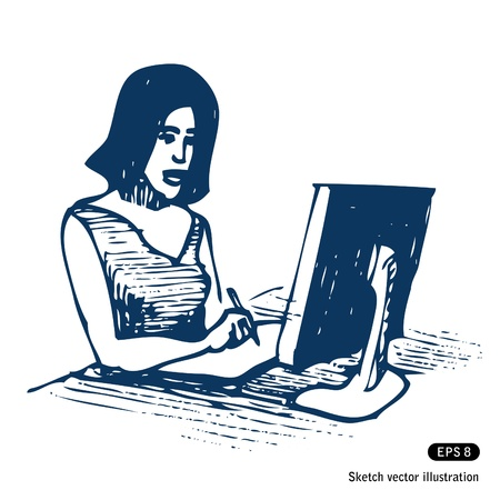 Female working with computer and tablet  Hand drawn isolated on white Stock Vector - 14162556