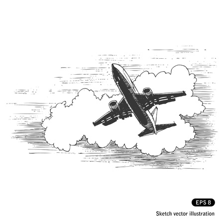Flying plane against a cloud  Hand drawn isolated on white Vector