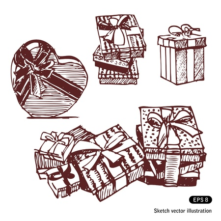 Gift boxes set  Hand drawn isolated on white Stock Vector - 14162571