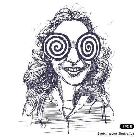 vertigo:   Girl with big round psychodelic glasses  Hand drawn vector isolated on white