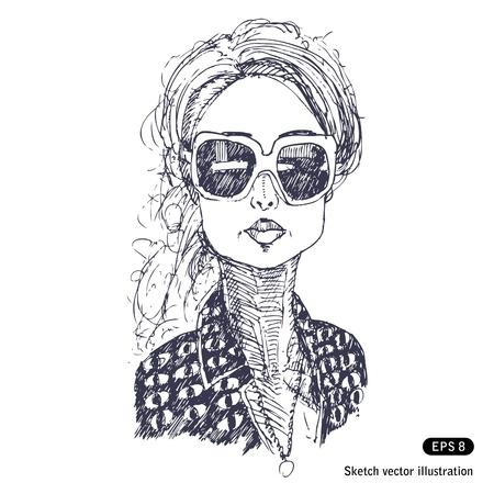 bocetos de personas: Chica con grandes gafas de sol dibujados a mano aislado en blanco