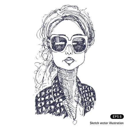 hand drawn:   Girl with big sunglasses  Hand drawn isolated on white Illustration