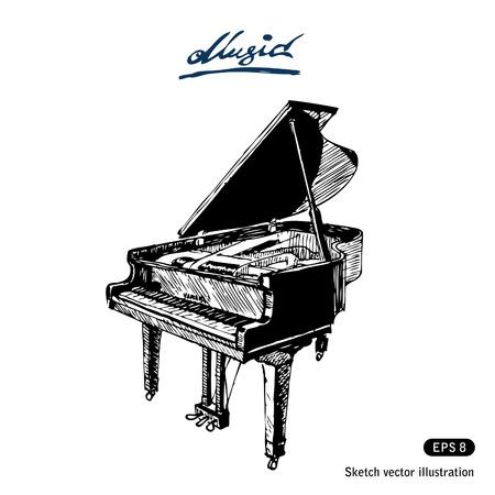 teclado de piano: Mano de piano de cola dibujados aislado en blanco Vectores