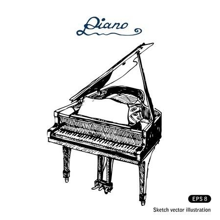 Grand piano Hand getrokken op wit wordt geïsoleerd Vector Illustratie