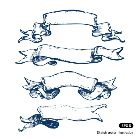 Vetor banners Hand-drawn definir desenhado m
