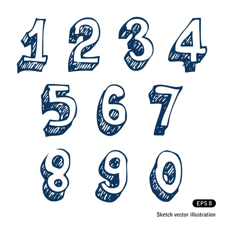 Hand-drawn numbers  Hand drawn isolated on white Illustration