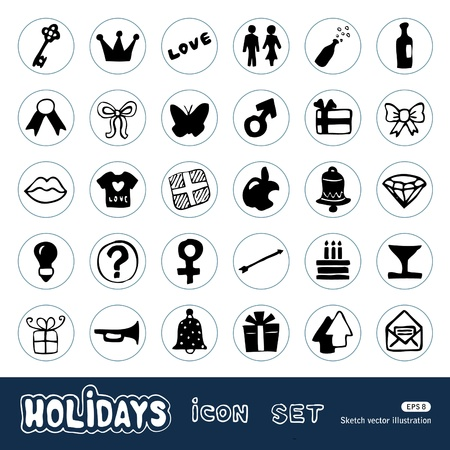 Holidays and celebration web icons set  Hand drawn vector isolated on white Stock Vector - 14205797
