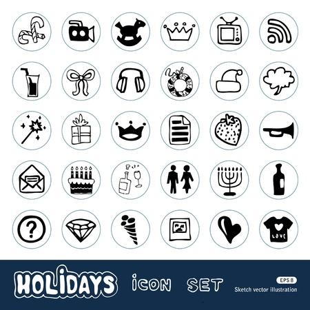 Holidays and celebration web icons set  Hand drawn isolated on white Illustration