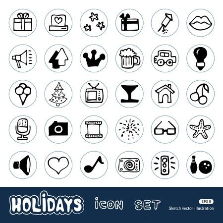 Holidays and celebration web icons set  Hand drawn isolated on white Vector
