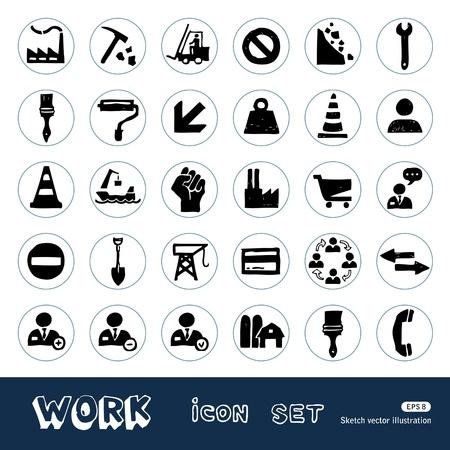Industrial, o trabalho e os �cones da web repara��o definir M�o desenhada isolado no branco Ilustra��o