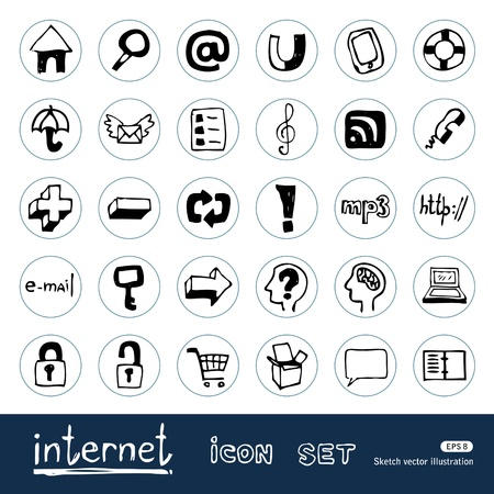Internet and media icons set  Hand drawn isolated on white Stock Vector - 14205708