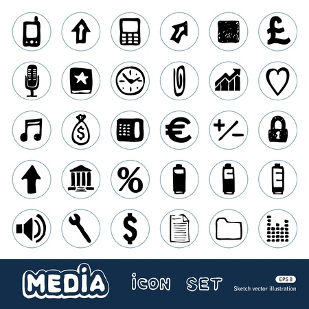 Internet and media icons set  Hand drawn isolated on white Vector