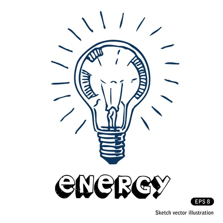 Light bulb  Hand drawn isolated on white Stock Vector - 14205721