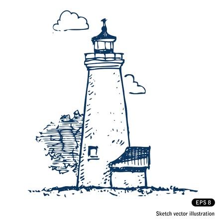 lighthouse at night: Hand drawn faro aislado en blanco