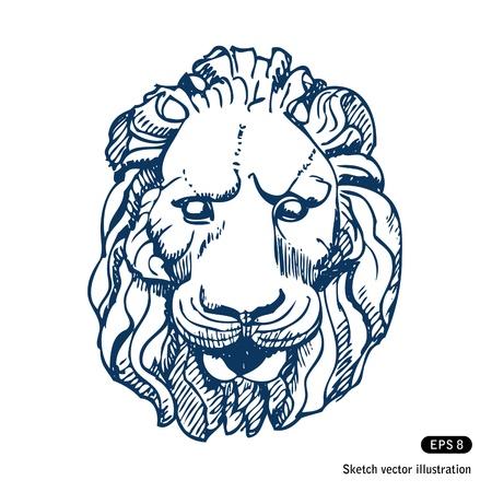 Lion Kopf Hand gezeichnet isoliert auf weiß Lizenzfreie Bilder - 14205762
