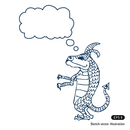 Little dragon with speech bubble Hand drawn isolated on white Vector