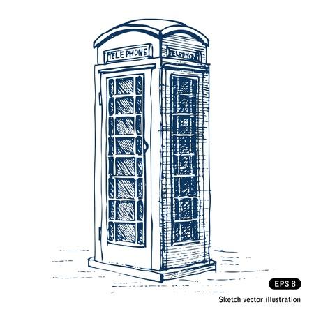 cabina telefono: Londres Mano tel�fono p�blico dibujados aislado en blanco