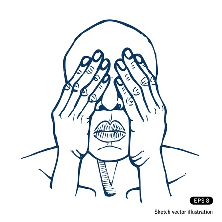 Man covering eyes with hands  Hand drawn isolated on white Vector