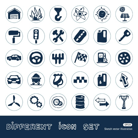 Auto and energy web icons set  Hand drawn vector isolated on white Stock Vector - 14244457