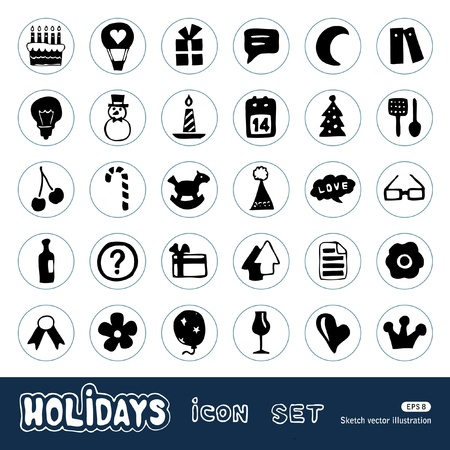 Holidays and celebration web icons set  Hand drawn vector isolated on white Illustration