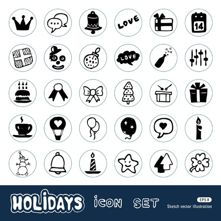 Holidays and celebration web icons set  Hand drawn vector isolated on white Vector