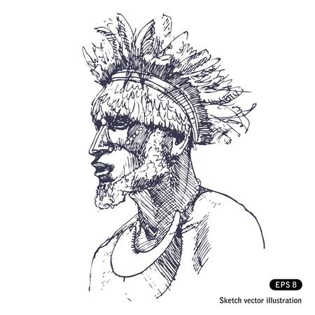 L'homme en habits traditionnels de la main Papous établi vecteur isolé sur blanc
