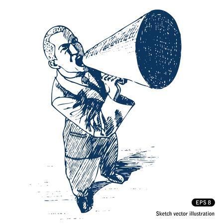 ruidoso: Hombre hablando en mano meg�fono vector dibujado aislado en blanco