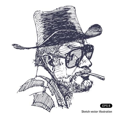 cigar smoking man: Hombre con sombrero, gafas de sol y barba fumando cigarros vector Dibujado a mano aislado en blanco