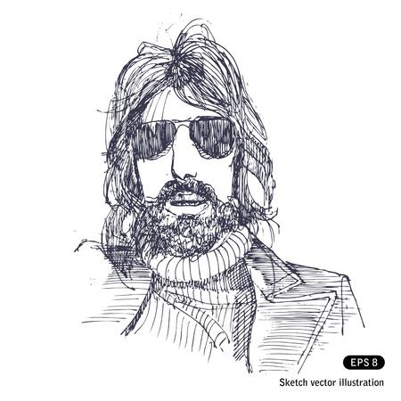 Homem com cabelo comprido e  Ilustra��o