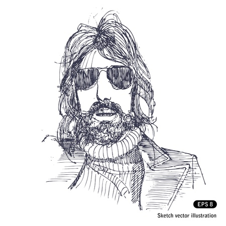 Man with long hair and sunglasses  Hand drawn vector isolated on white Stock Vector - 14244083
