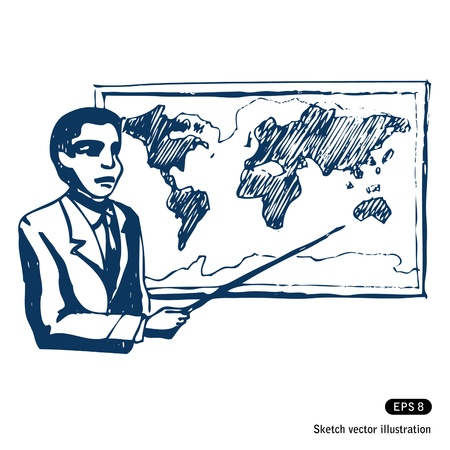 Man with world map  Hand drawn vector isolated on white Stock Vector - 14244196