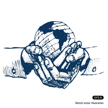 earth in hand: Las manos del hombre la celebraci�n de s del mundo la tierra vector Dibujado a mano aislado en blanco Vectores