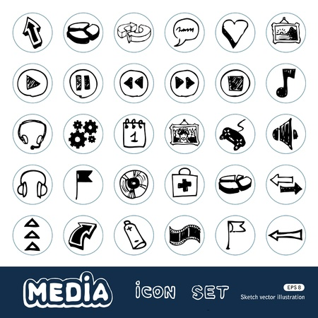 Media and arrows web icons set  Hand drawn vector isolated on white Vector