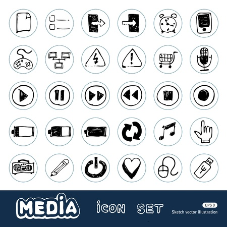 Media and communication web icons set  Hand drawn vector isolated on white Vector