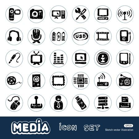 M�dia e sociais �cones de rede web definir vetor tirado m�o isolado no branco