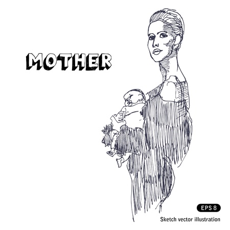 Mother holding her baby  Hand drawn vector isolated on white Stock Vector - 14244455