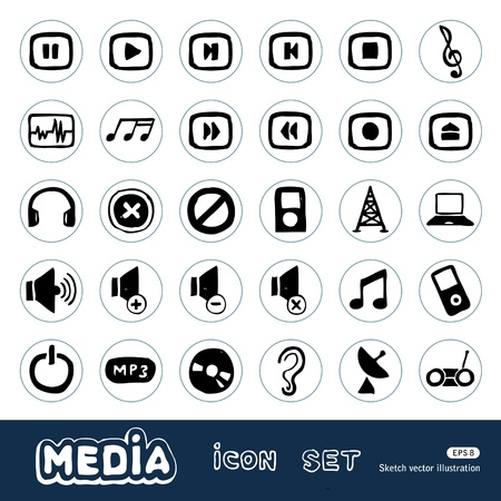 Music and media web icons set Illustration