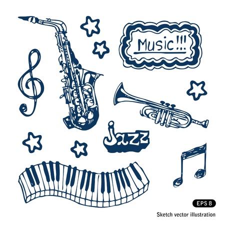 perform:   Music elements set  Hand drawn  Illustration