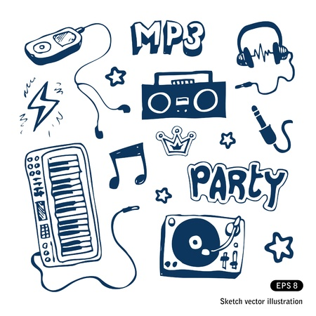 Music elements set  Hand drawn Vector
