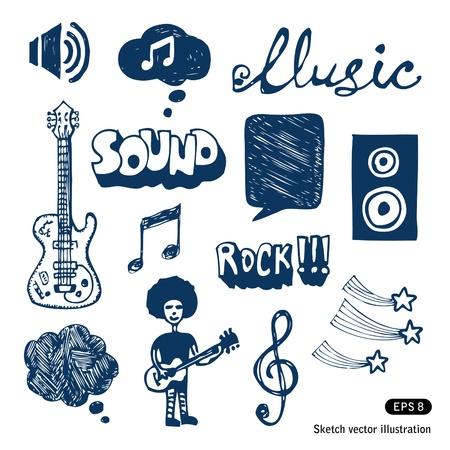 Elementos musicais definir vetor tirado mão isolado no branco Ilustra��o