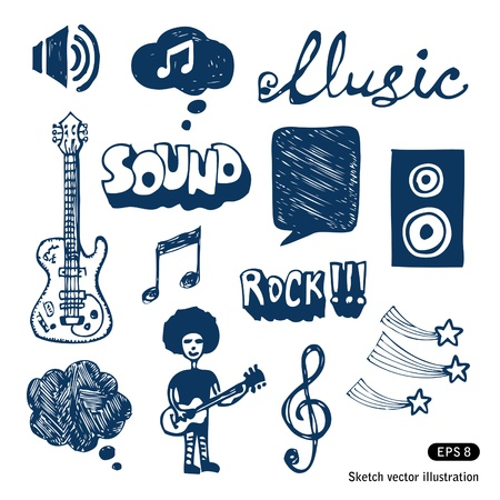 Music elements set Hand drawn vector isolated on white