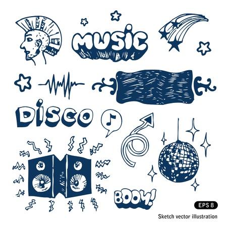 Elementi musicali impostare vettore disegnata a mano isolato su bianco