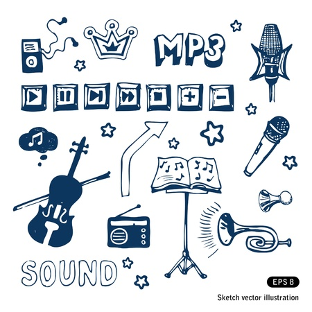 lectern:   Music elements set  Illustration