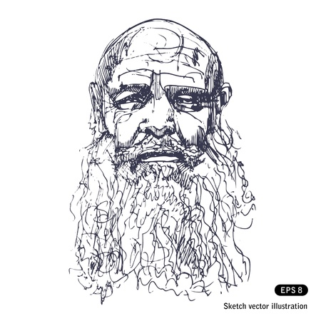 wrinkles:   Old man with a beard   Illustration