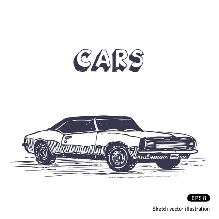 exotic car:   Old muscle car  Hand drawn