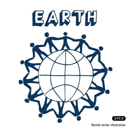 earth in hand: La gente de pie juntos en la Tierra dibujado a mano
