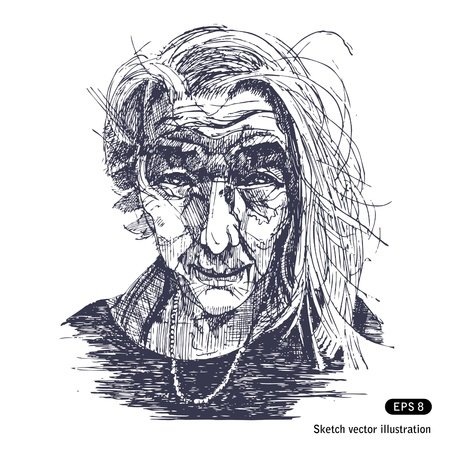 old hand:   Portrait of a smiling old woman