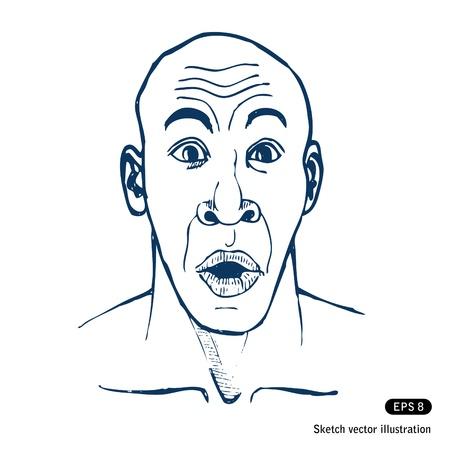 miedoso: Sorprendido vector de la mano del hombre dibujado aislado en blanco