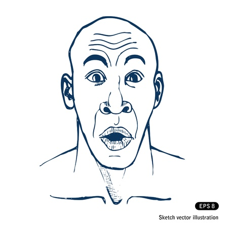 mouth closed:   Surprised man  Hand drawn vector isolated on white Illustration